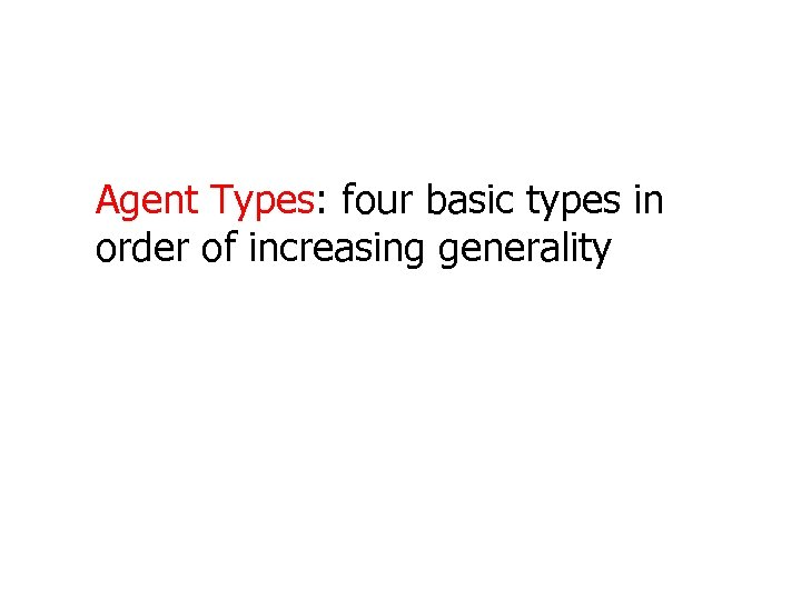 Agent Types: four basic types in order of increasing generality