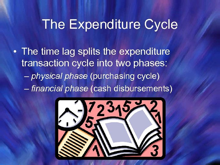 The Expenditure Cycle • The time lag splits the expenditure transaction cycle into two