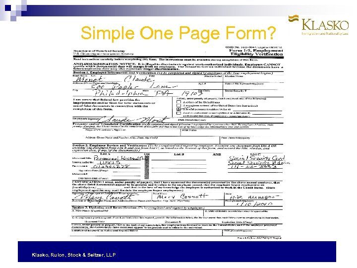 Simple One Page Form? Klasko, Rulon, Stock & Seltzer, LLP