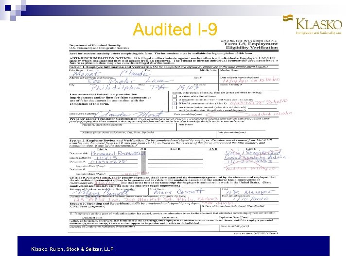 Audited I-9 Klasko, Rulon, Stock & Seltzer, LLP
