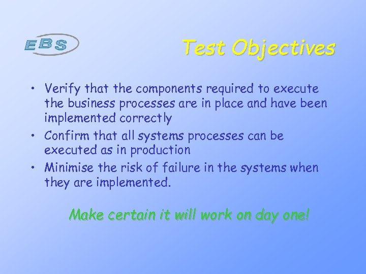 Test Objectives • Verify that the components required to execute the business processes are