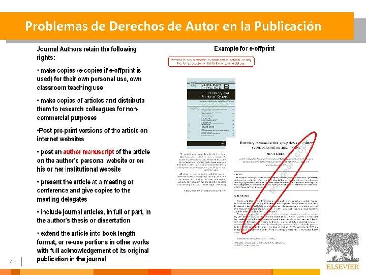 Problemas de Derechos de Autor en la Publicación 76