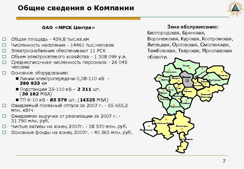 Общие сведения о Компании ОАО «МРСК Центра» o o o o o Общая площадь