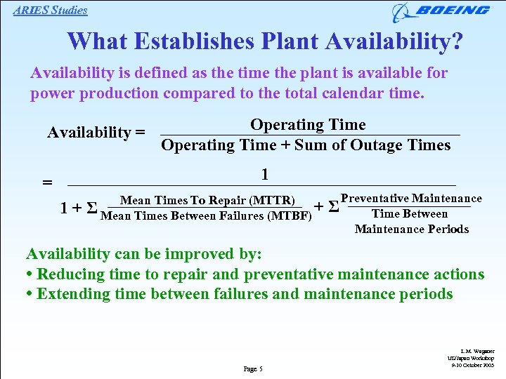 ARIES Studies What Establishes Plant Availability? Availability is defined as the time the plant