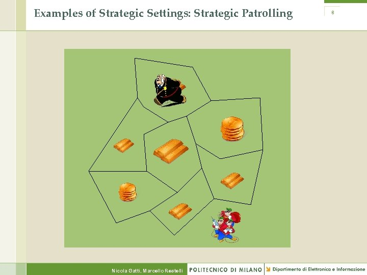 Examples of Strategic Settings: Strategic Patrolling Nicola Gatti, Marcello Restelli 8