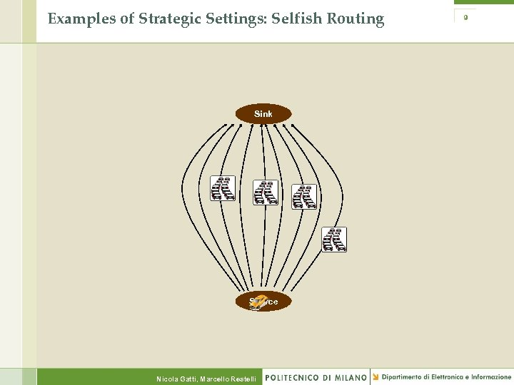 Examples of Strategic Settings: Selfish Routing Sink Source Nicola Gatti, Marcello Restelli 9