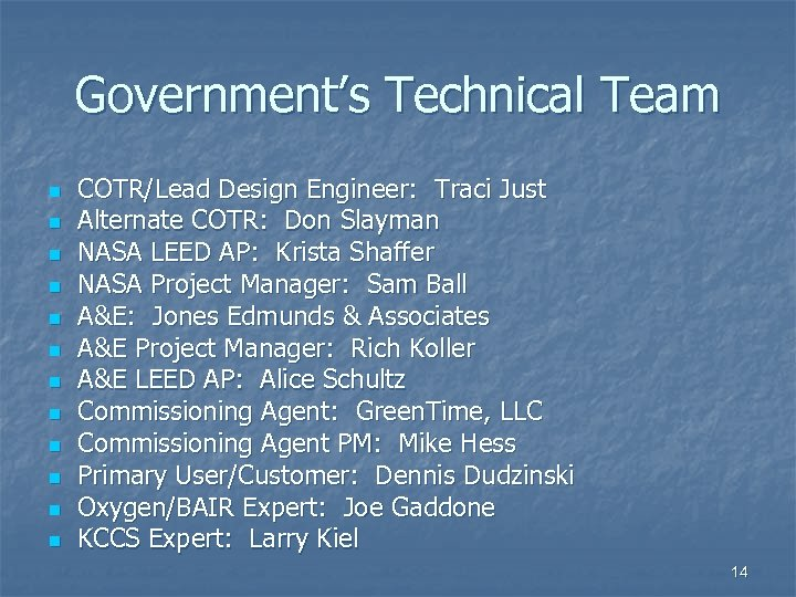 Government's Technical Team n n n COTR/Lead Design Engineer: Traci Just Alternate COTR: Don