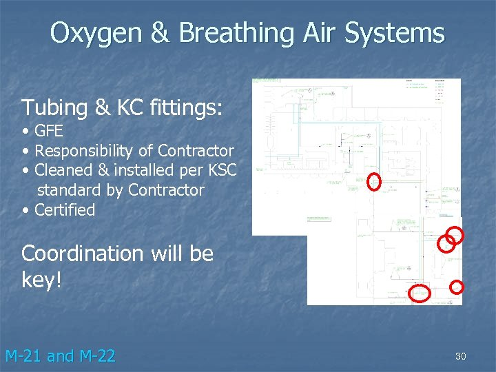 Oxygen & Breathing Air Systems Tubing & KC fittings: • GFE • Responsibility of