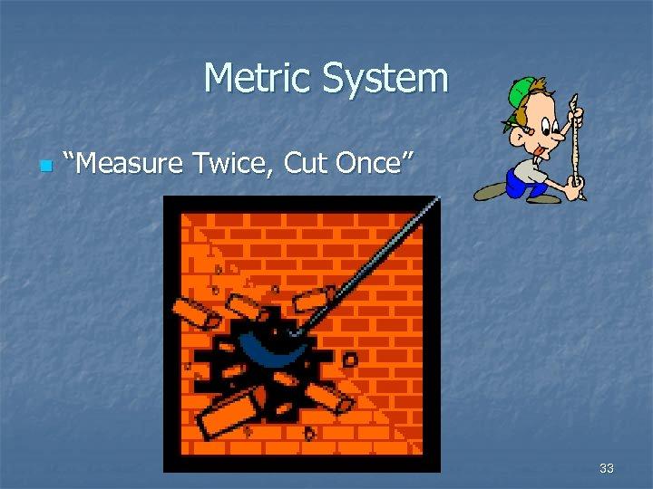 "Metric System n ""Measure Twice, Cut Once"" 33"