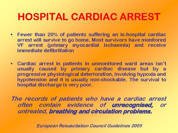 HOSPITAL CARDIAC ARREST • Fewer than 20% of patients suffering an in-hospital cardiac arrest
