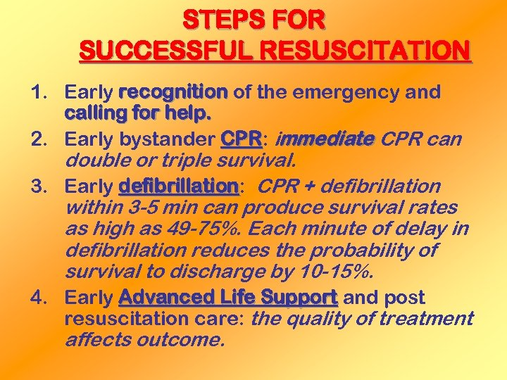 STEPS FOR SUCCESSFUL RESUSCITATION 1. Early recognition of the emergency and calling for help.
