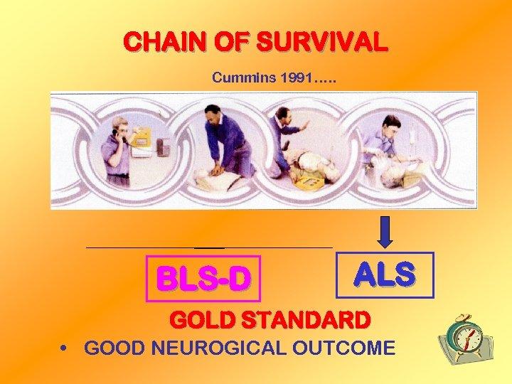 CHAIN OF SURVIVAL Cummins 1991…. . BLS-D ALS GOLD STANDARD • GOOD NEUROGICAL OUTCOME
