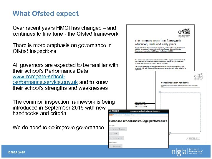 What Ofsted expect Over recent years HMCI has changed – and continues to fine