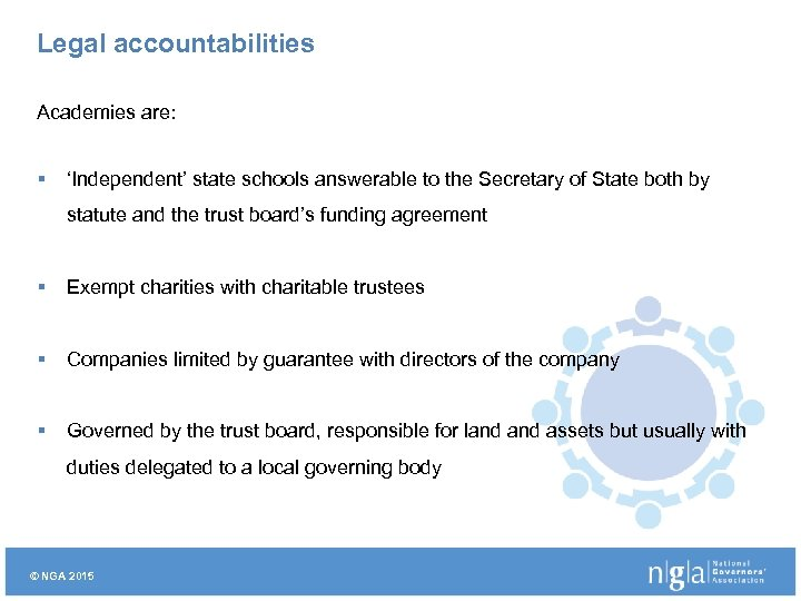 Legal accountabilities Academies are: § 'Independent' state schools answerable to the Secretary of State