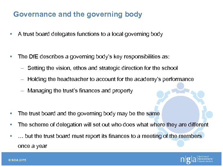 Governance and the governing body § A trust board delegates functions to a local