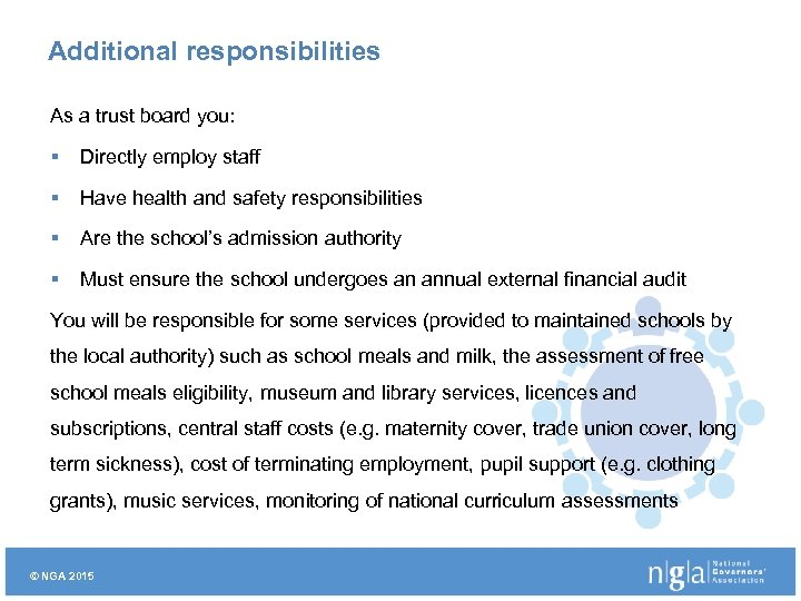 Additional responsibilities As a trust board you: § Directly employ staff § Have health