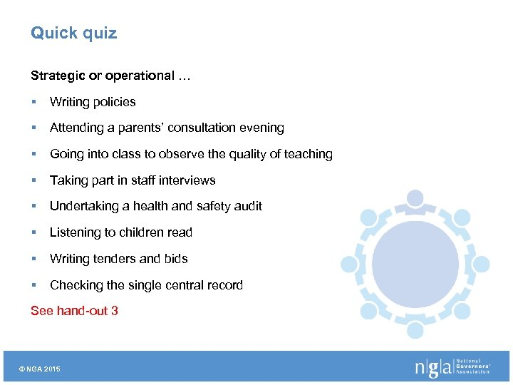 Quick quiz Strategic or operational … § Writing policies § Attending a parents' consultation
