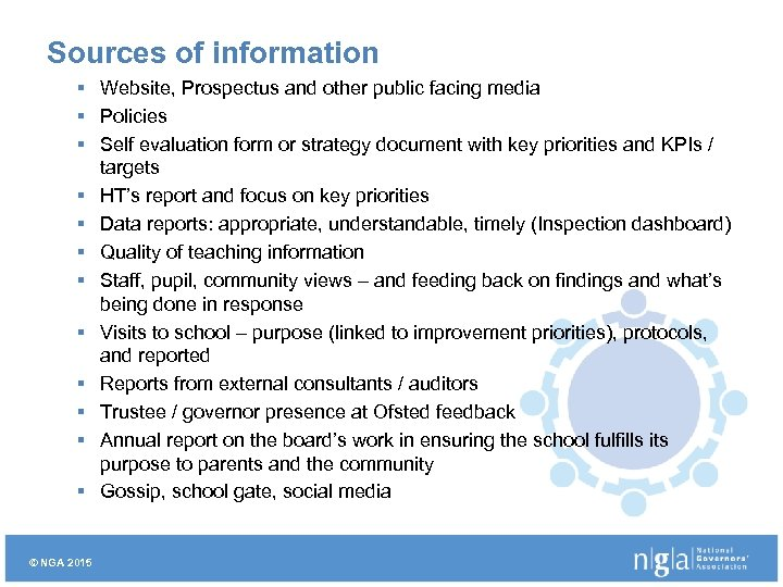 Sources of information § Website, Prospectus and other public facing media § Policies §