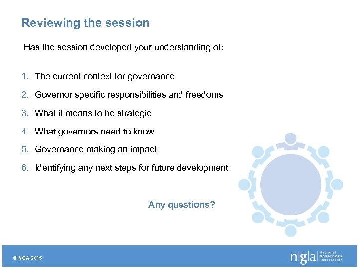 Reviewing the session Has the session developed your understanding of: 1. The current context