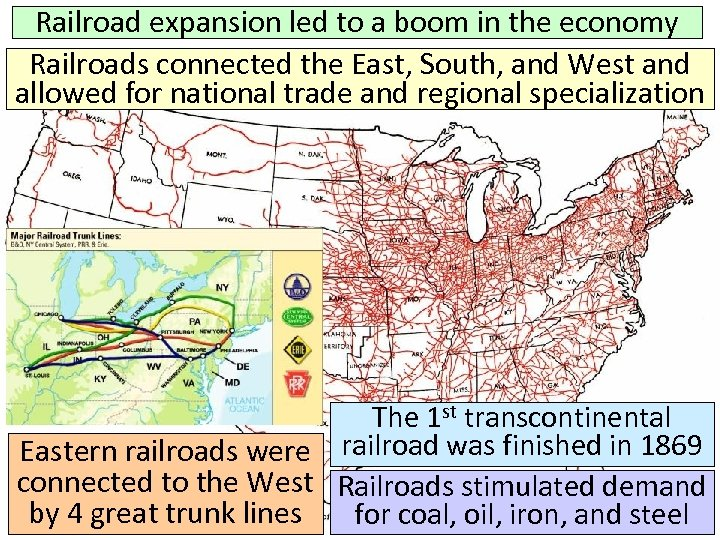 Railroad expansion led to a boom in the economy Railroads connected the East, South,