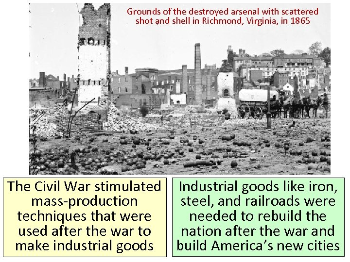 Grounds of the destroyed arsenal with scattered shot and shell in Richmond, Virginia, in