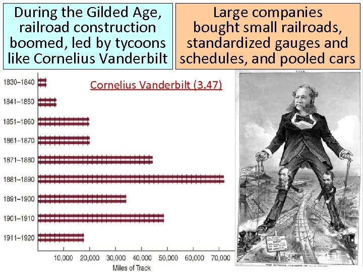 During the Gilded Age, Large companies railroad construction bought small railroads, boomed, led by