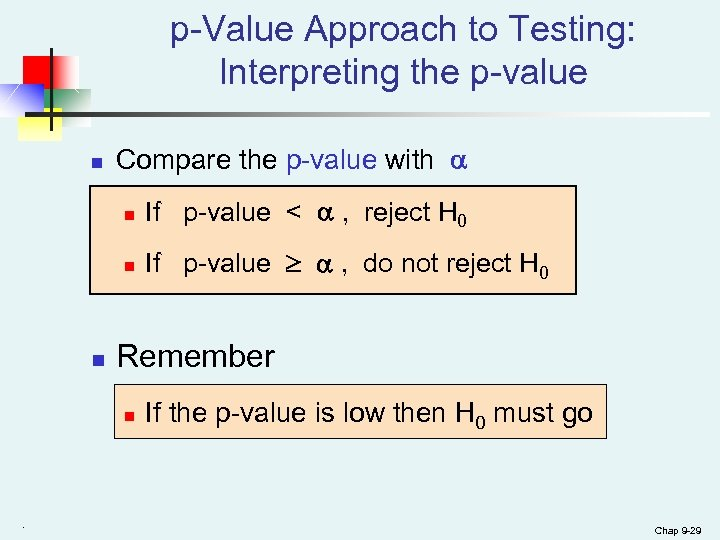 p-Value Approach to Testing: Interpreting the p-value n Compare the p-value with n n