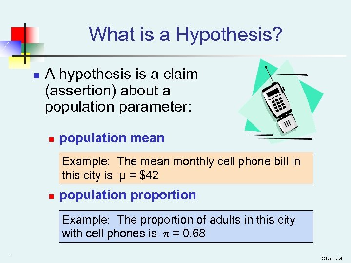 What is a Hypothesis? n A hypothesis is a claim (assertion) about a population