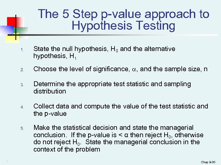 The 5 Step p-value approach to Hypothesis Testing 1. 2. 3. 4. 5. .