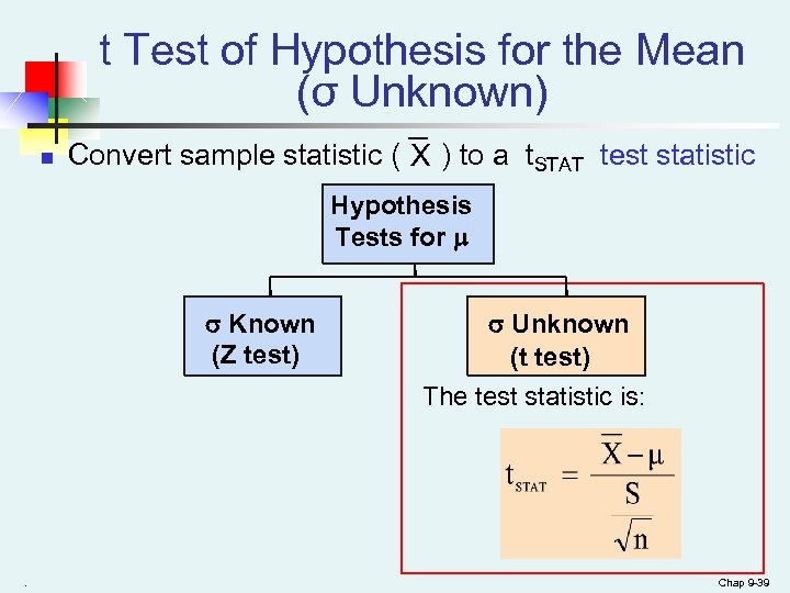t Test of Hypothesis for the Mean (σ Unknown) n Convert sample statistic (