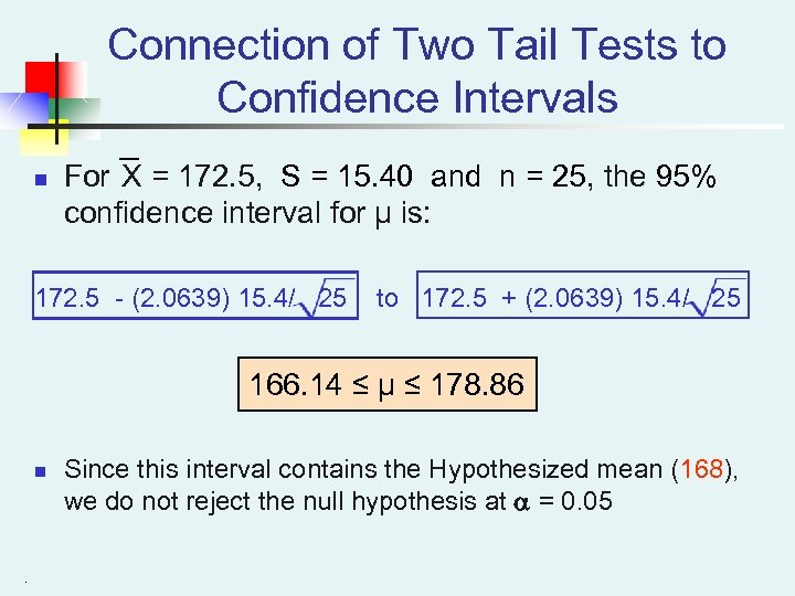 Connection of Two Tail Tests to Confidence Intervals n For X = 172. 5,