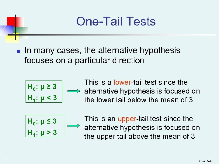 One-Tail Tests n In many cases, the alternative hypothesis focuses on a particular direction