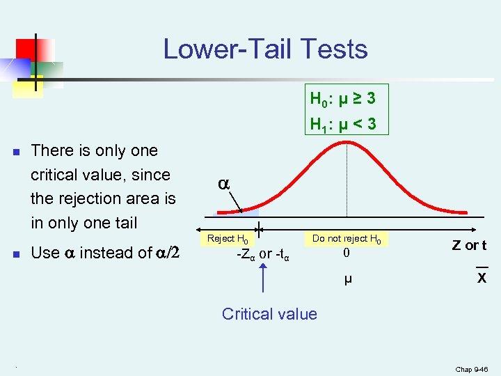 Lower-Tail Tests H 0: μ ≥ 3 H 1: μ < 3 n n