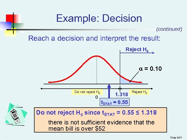 Example: Decision (continued) Reach a decision and interpret the result: Reject H 0 =
