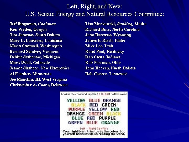 Left, Right, and New: U. S. Senate Energy and Natural Resources Committee: Jeff Bingaman,
