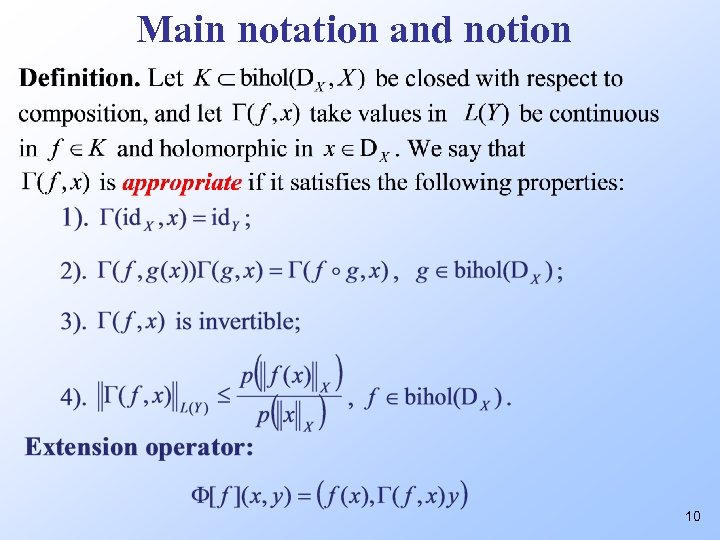 Main notation and notion 10