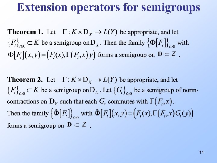 Extension operators for semigroups 11