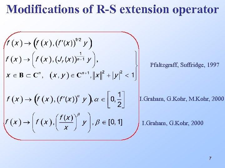 Modifications of R-S extension operator Pfaltzgraff, Suffridge, 1997 I. Graham, G. Kohr, M. Kohr,