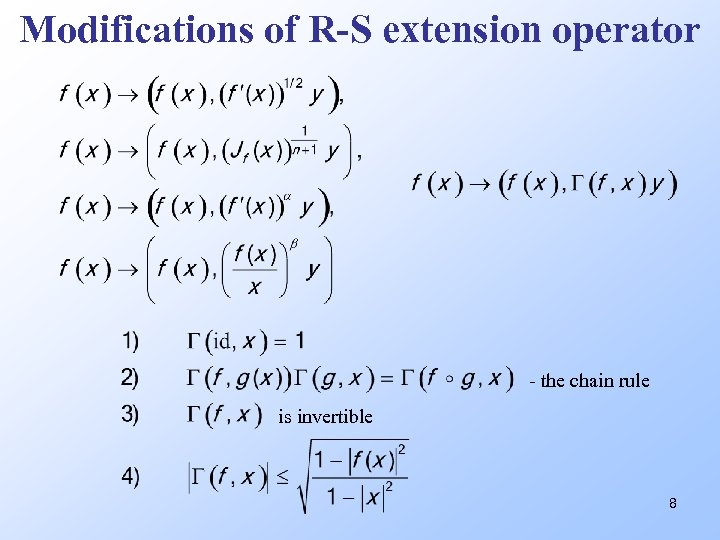 Modifications of R-S extension operator - the chain rule is invertible 8