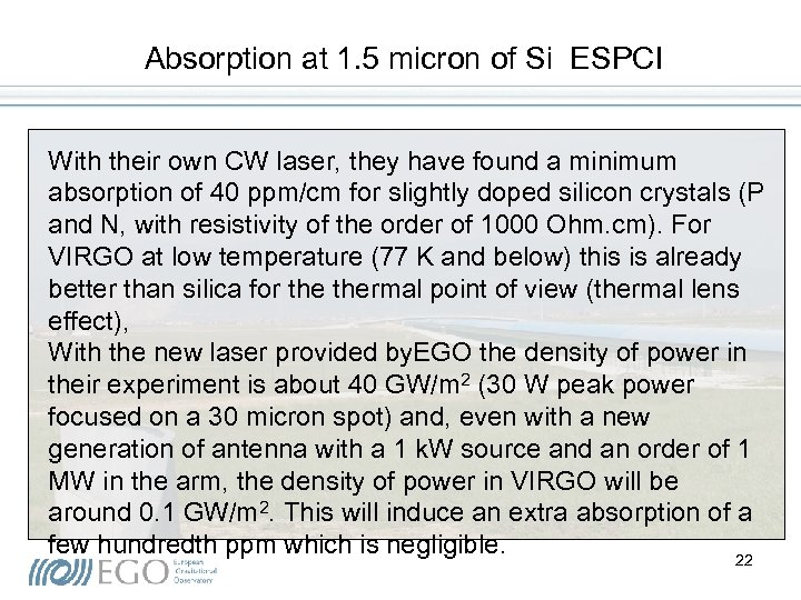 Absorption at 1. 5 micron of Si ESPCI With their own CW laser, they