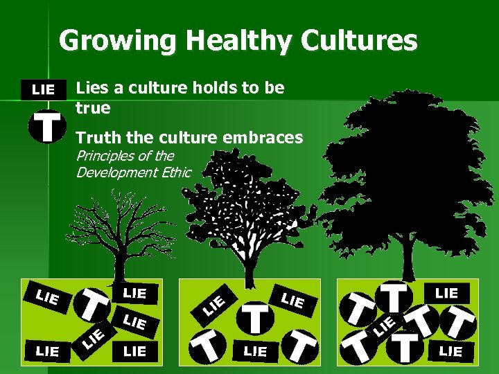 Growing Healthy Cultures Lies a culture holds to be true Truth the culture embraces