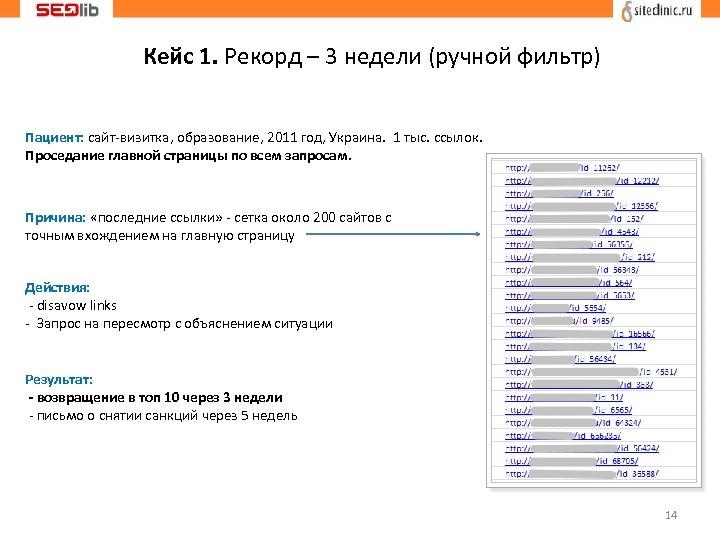 Кейс 1. Рекорд – 3 недели (ручной фильтр) Пациент: сайт-визитка, образование, 2011 год, Украина.