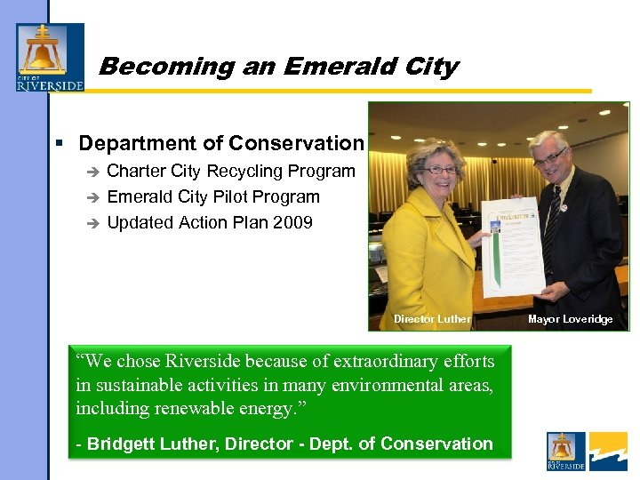 Becoming an Emerald City § Department of Conservation Charter City Recycling Program è Emerald