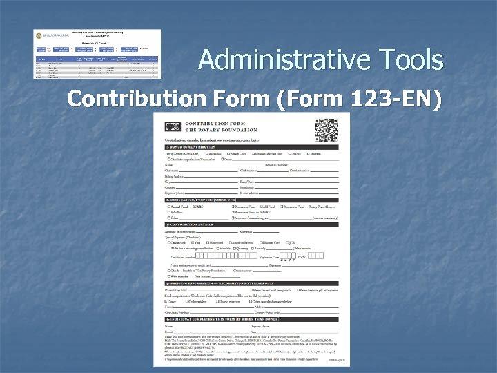 Administrative Tools Contribution Form (Form 123 -EN)