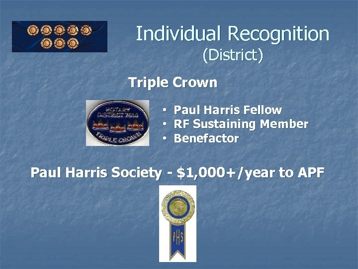 Individual Recognition (District) Triple Crown • Paul Harris Fellow • RF Sustaining Member •