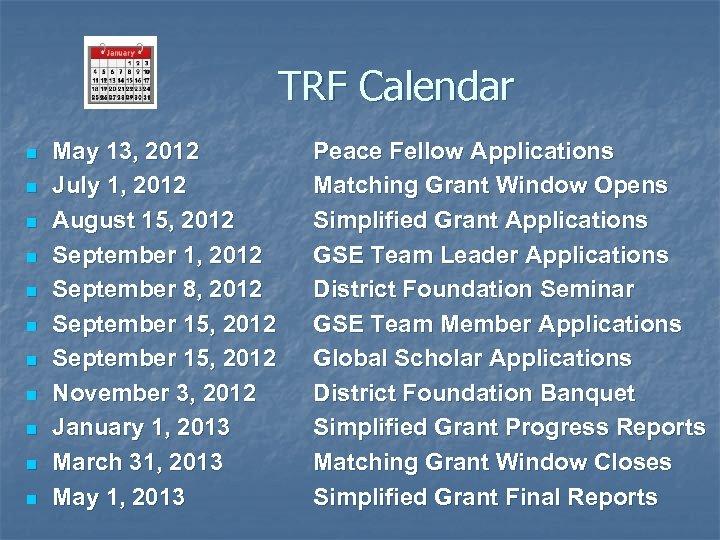 TRF Calendar n n n May 13, 2012 July 1, 2012 August 15, 2012