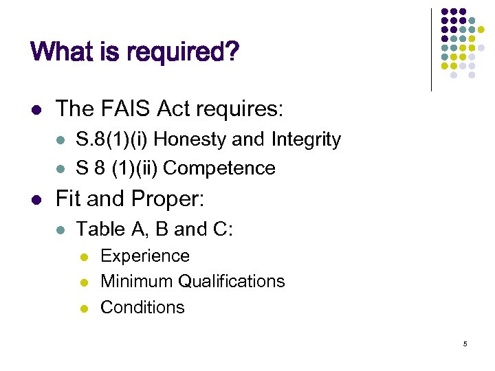 What is required? l The FAIS Act requires: l l l S. 8(1)(i) Honesty
