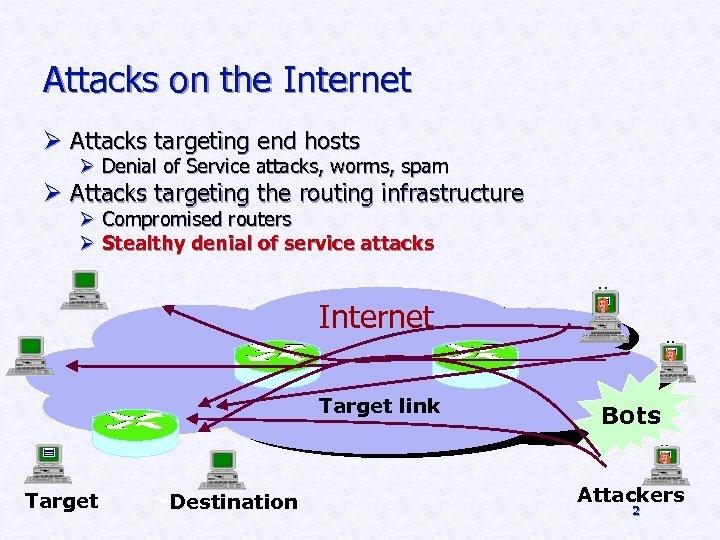 Attacks on the Internet Ø Attacks targeting end hosts Ø Denial of Service attacks,