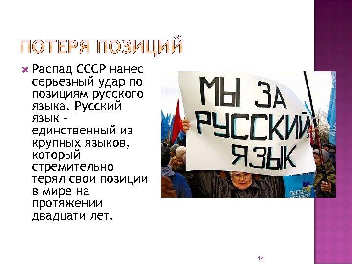 Распад СССР нанес серьезный удар по позициям русского языка. Русский язык – единственный