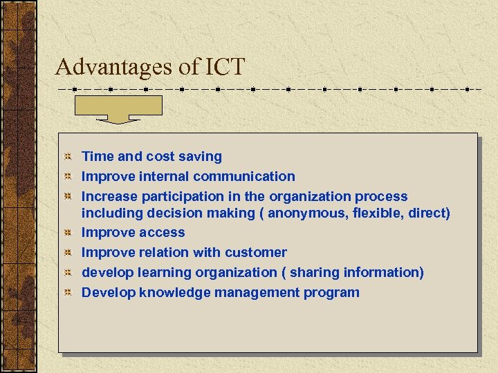 Advantages of ICT Time and cost saving Improve internal communication Increase participation in the